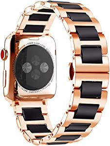 Compatible For Apple iWatch Band 42mm 44mm Rose Gold Stainless Steel Watch Band Strap with Black Ceramic Bracelet for Apple Watch Series 6 SE 5 4 3 2 1