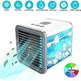 Portable Air Conditioner Fan Mini Evaporative Air Circulator Cooler Humidifier(White)