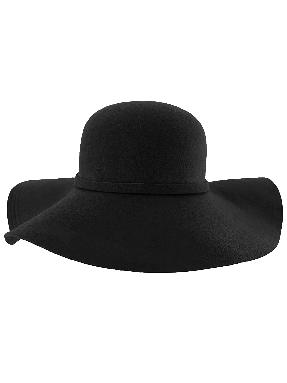 899e0aa1d5f Luxury Divas Black Wide Brimmed Wool Floppy Hat at Amazon Women s Clothing  store  Sun Hats