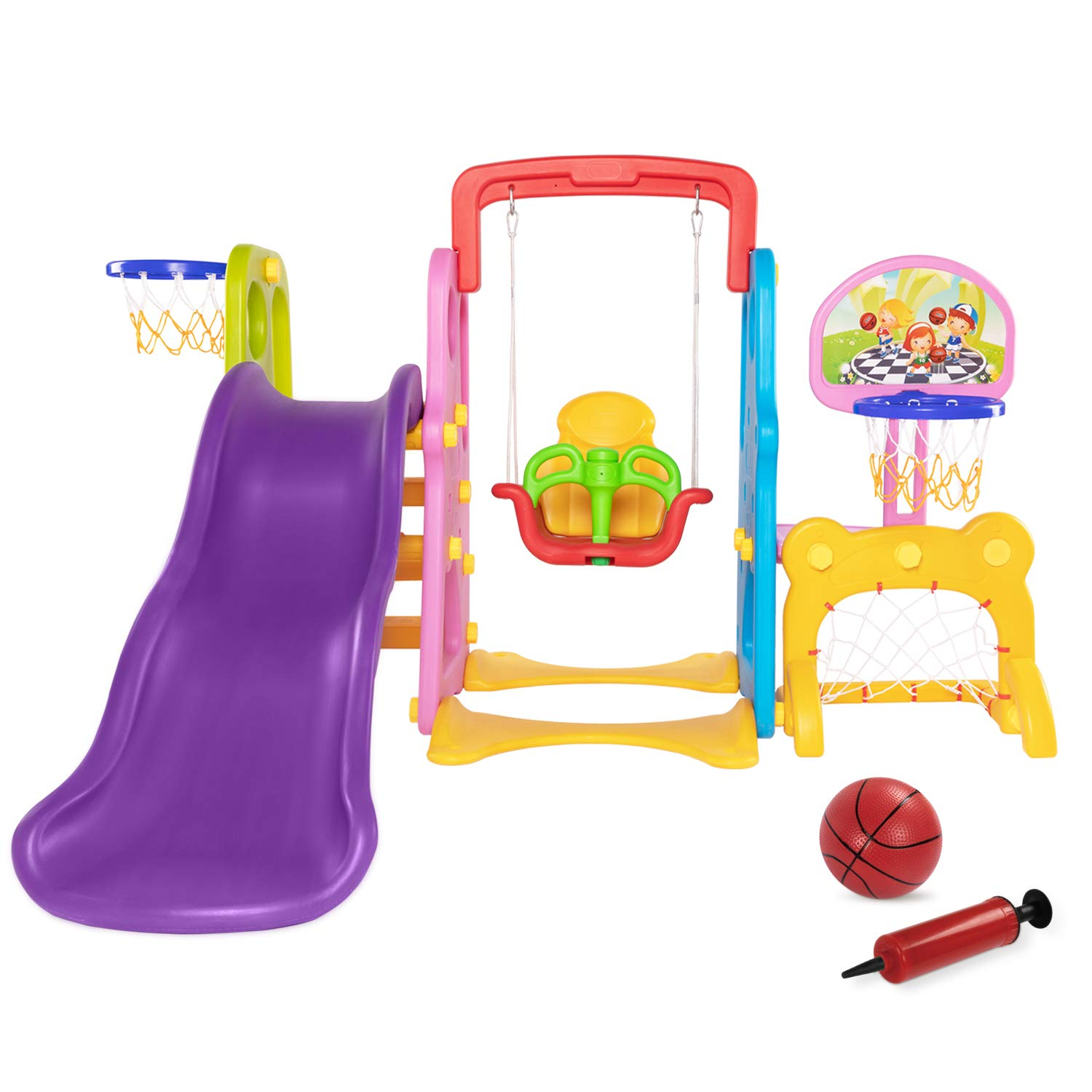 5 in 1 Climber and Swing Set, Toddler Slide and Swing Set, Basketball Hoop, Football Gate, Playset for Backyard, Playground Set, Baby Swing Outdoor & Indoor, Yard Games for Kids, Baby Outside Toys by AuAg