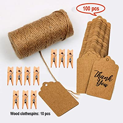 Jute Twine 328 Feet Natural Jute Rope and 10 Pcs Wood Clothespins with 100pcs Brown Rectangle Kraft Paper Gift Tags for DIY Crafts, Festive Decoration and Gardening Applications: Home Improvement