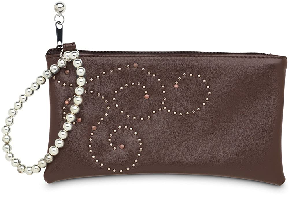 Sanxiner Women Rose Leather Wristlet Long Wallet Clutch Organizer Crossbody Bag