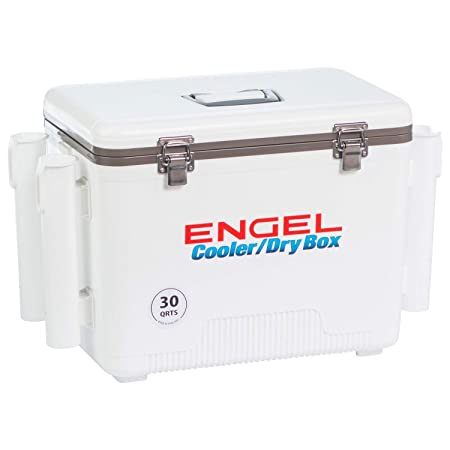 Engel Cooler Dry Box 19 Qt with Rod Holders – White