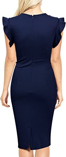 Women's Business Retro Ruffles Slim Cocktail Pencil Dress