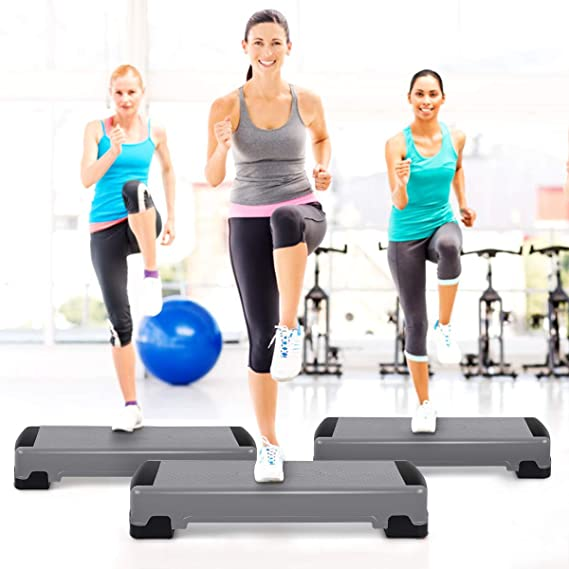 """Details about  /35/"""" Fitness Aerobic Step Cardio Adjustable 6/""""-8/""""-10/"""" Exercise Stepper w//Risers"""