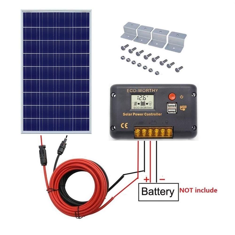 ECO-WORTHY 100Watt Solar Panel Off-Grid RV Boat Kit:100 Watt Solar Panel+20A LCD Display Charge Controller +Solar Cable +Z Brackets