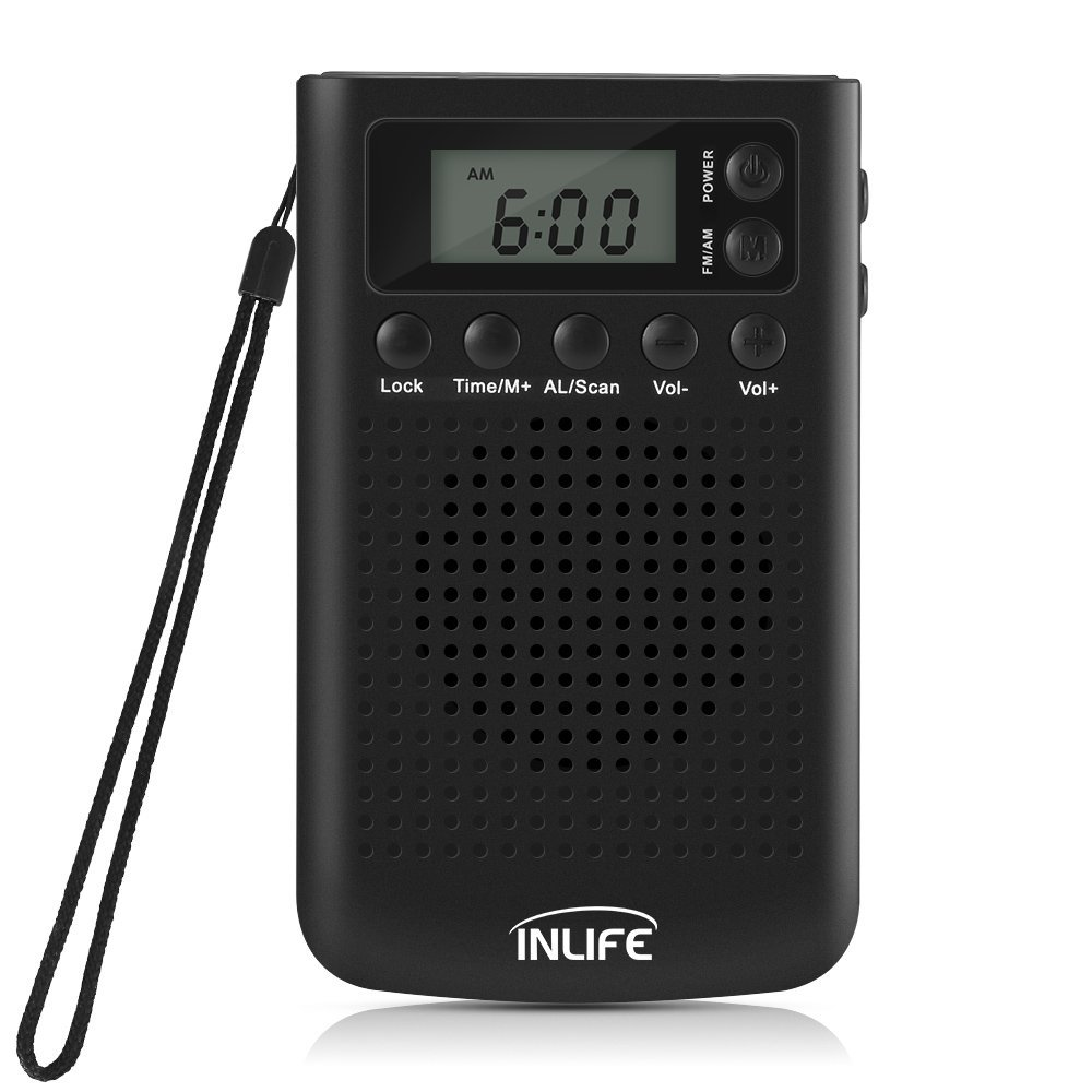 AM/FM Portable Pocket Radio, Battery Operated Stereo Radio with Alarm Clock, Snooze Function and 3.5mm Headphone Jack for Walking, Travel