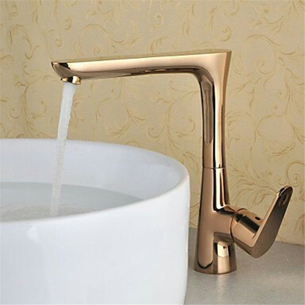 Bijjaladeva Antique Kitchen Sink Mixer Tap Retro-Copper Kitchen Faucet pink gold Basin Cold Water Surface Basin Mixer