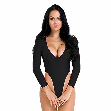 1252241e02 iiniim Women One-Piece Thong Leotard Long Sleeve V-Neck Bodysuit High Cut  Jumpsuit Underwear Black One Size  Amazon.co.uk  Clothing