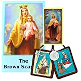 Our Lady of Mt Carmel Traditional Brown Cord Cloth Scapular and the Brown Scapular Book Free Blessed Prayer Card