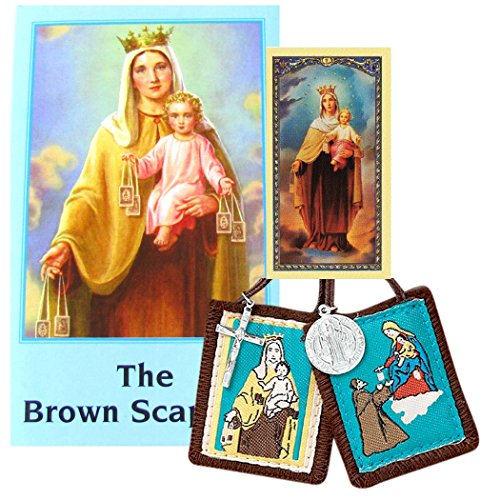 Our Lady of Mt Carmel Traditional Brown Cord Cloth Scapular and the Brown Scapular Book Free Blessed Prayer Card by Gifts by Lulee, LLC