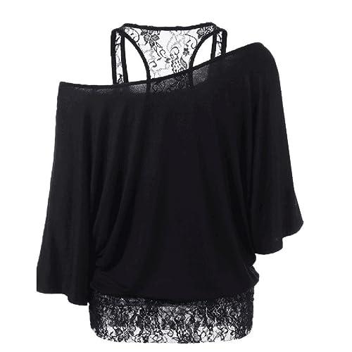 Verano blusa caliente, HARRYSTORE las mujeres más de talla de encaje suelta camisa de manga larga in...