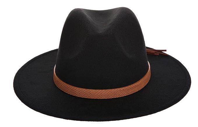 ca689cb8863a4 Adult Women Men Wool Blend Fedora Hat Trilby Caps Panama Hat with Tassels  Belt Black