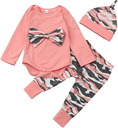 Deloito Infant Kids Outfits Girls Clothes Set Baby Outfits Set Newborn Girls Boys Camouflage Bow Tops+Pants+Headband 0-24 Month