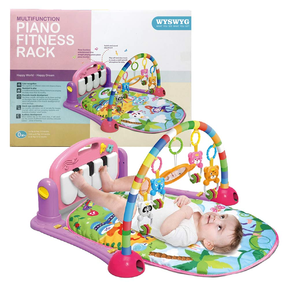 WYSWYG Baby Gym Jungle Musical Play Mats for Floor, Kick and Play Piano Gym Activity Center with Music, Lights, and Sounds Toys for Infants and Toddlers Aged 0 to 6 12Months Old (Pink)