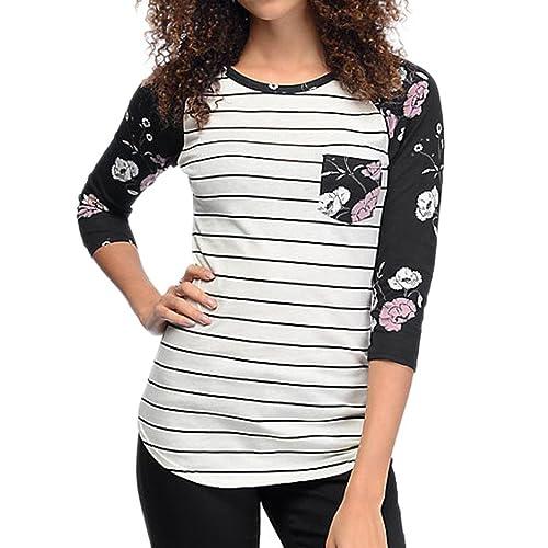 Camisetas De Manga Larga De Floral Rayas De Otoño Para Mujer Por ESAILQ