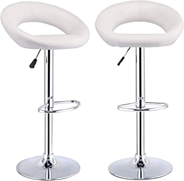 Amazon Com Modern New White Pair Of Bar Stools Adjustable Pu Leather Barstools Swivel Pub Home Kitchen Chairs Furniture Decor