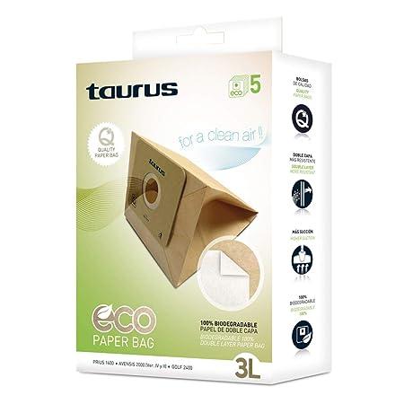 Taurus 999175000 Paquete de 5 Bolsas de Papel Eco para aspiradores Trineo de 3 litros de Capacidad, Paper, Madera