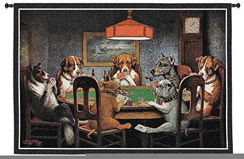 Dogs Playing Poker by Cassius Marcellus Coolidge - Woven Tapestry Wall Art Hanging - Whimsical Poker Cheating Bulldogs Perfect Game Room Classic - 100% Cotton - USA 38X54