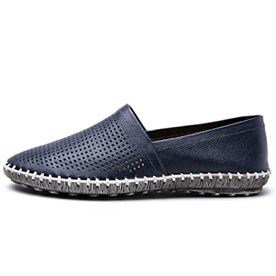 TDA Men's Fashion Slip-on Leather Breathable Stitching Penny Loafers Hiking Shoes