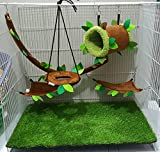 Brown Sugar Pet Store 5 piece Sugar Glider Cage Set Forest Pattern Light Brown Color