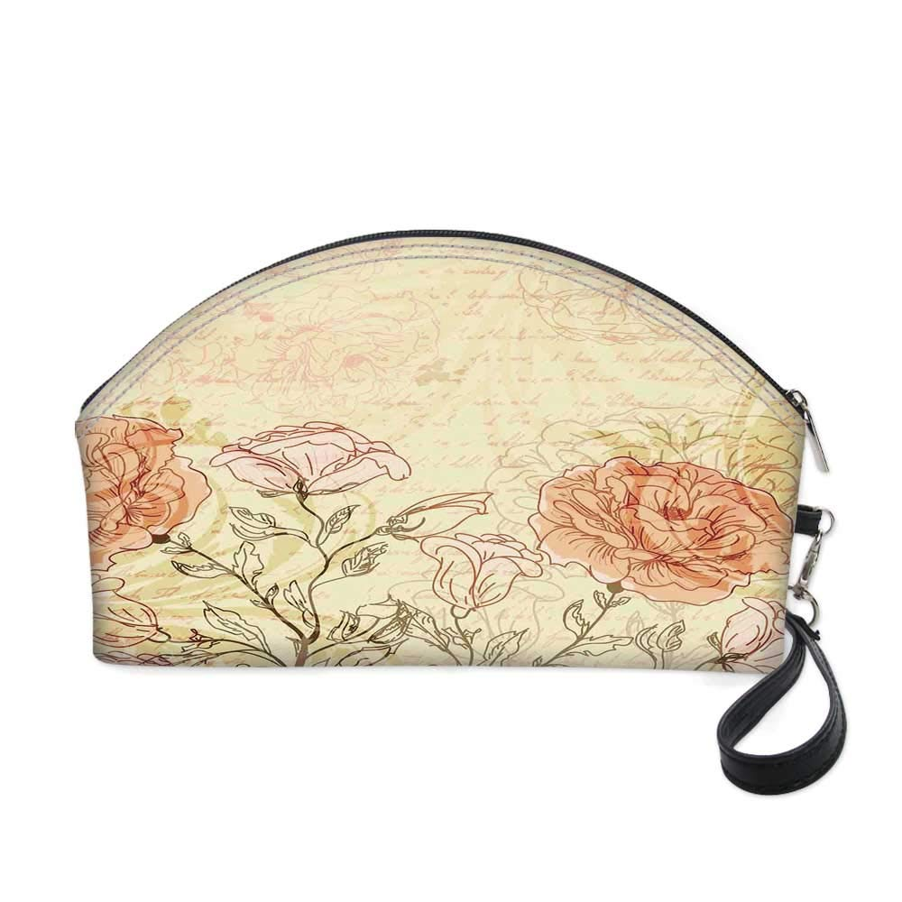 """Vintage Small portable cosmetic bag,Double Exposure Background Roses and Lettering Love Words Once Upon A Time Theme for Women,10.8""""Lx3.3""""Wx6.6""""H"""