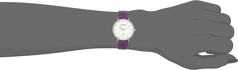 Akribos XXIV Women's Skinny Watch - 12 Genuine Diamond Markers on Genuine Leather Strap - AK882 Purple