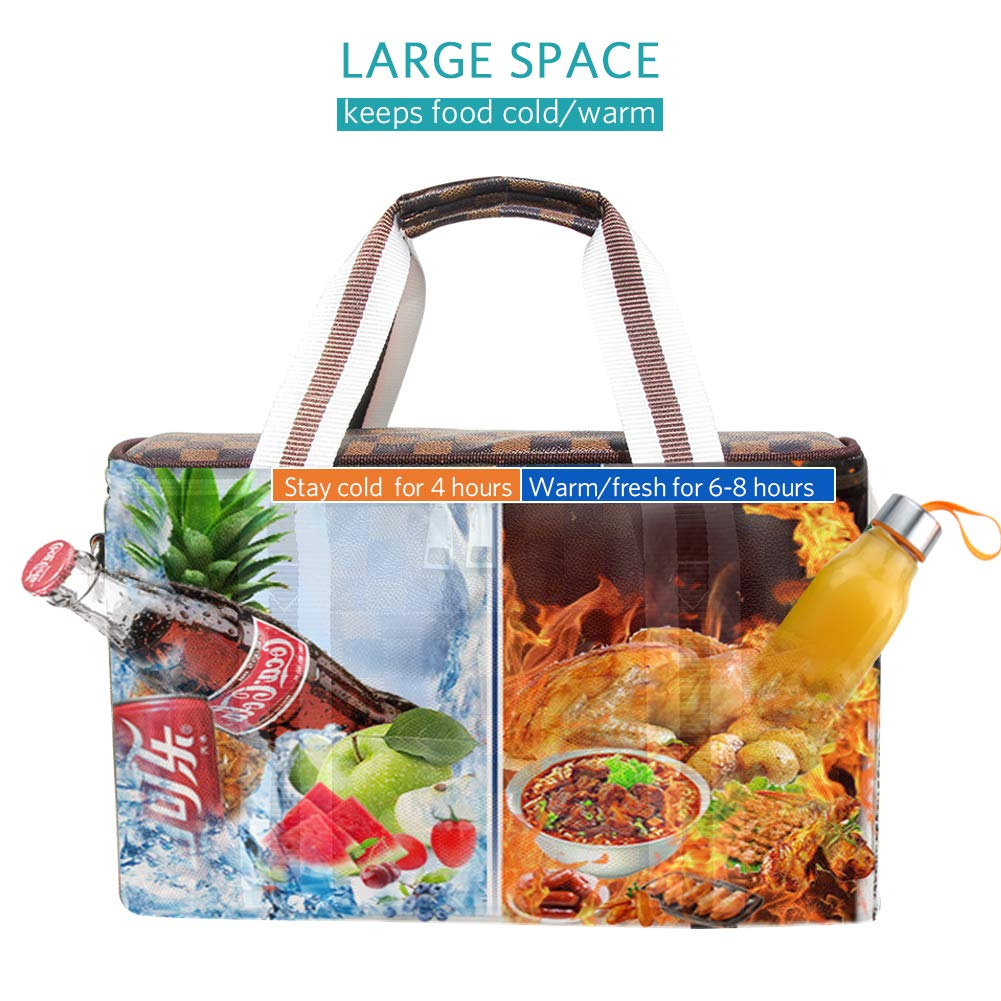 Insulated Lunch Bag Lunch Tote Box Multi-functional Durable and High-grade Leakproof-resistant Thermal Tote Bag Shoulder Bag Checked Pattern for Men Women Work//Outdoor//Picnic//Hiking Brown