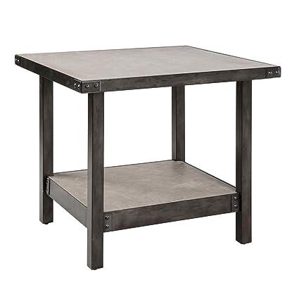 Amazoncom Industrial Rustic Concrete Top Square Accent End Side - Industrial concrete side table