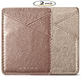 Phone Card Holder  Adhesive Stick-on  Credit Card Wallet Phone Case Pouch Sleeve Pocket for Most of Smartphones(iPhone/Android /Samsung Galaxy) - (Gold-Rose 2pc)