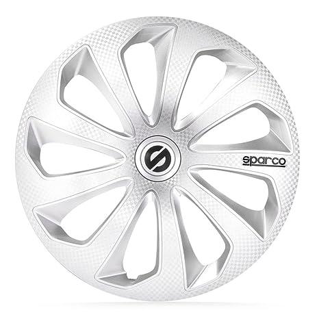 Sparco spc1374svc Sicilia Cubierta de la rueda Set, 13 pulgadas, plata/Carbon: Amazon.es: Coche y moto