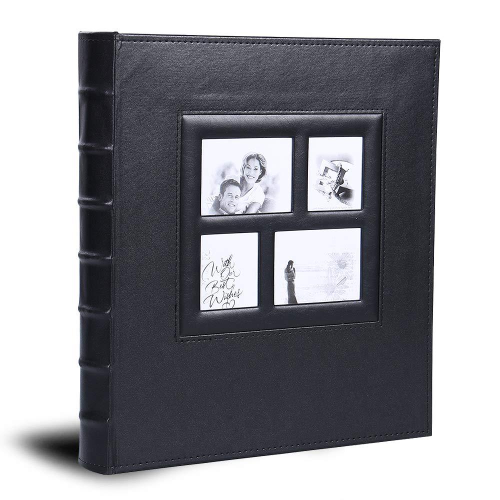 Vienrose Photo Album Premium Leather Album Sean Bonded Bi-Directional Album 620 Pockets Hold 3''x5'' 4''x6'' 5''x7'' Photos Used for Family Wedding Anniversary Baby Vacation (Black)