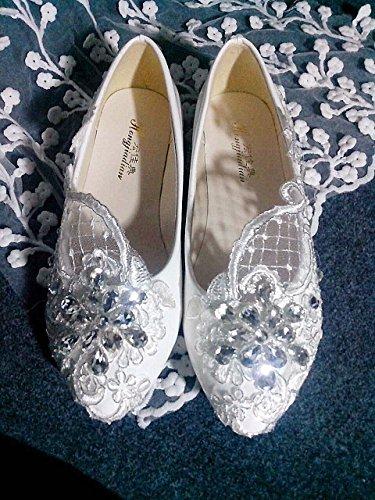 JINGXINSTORE Talón Plano Puntilla Marfil Zapatos de Novia Boda Cristal Tamaño 5-12,Blanco,US 6.5