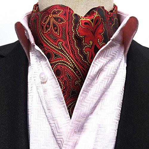 Ascot Tie (Men's Cravat Self Tie Paisley Jacquard Woven Luxury Ascot Color 17)