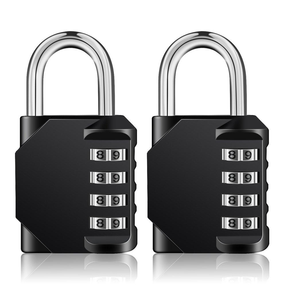 Combination Padlock Outdoor, Locker Lock, 4 Digit Lock, 2 Pack Combo Lock, Gym Lock, School Lock, Resettable Weatherproof Combination Lock for Gates, Doors, Hasps, Storage (Black)