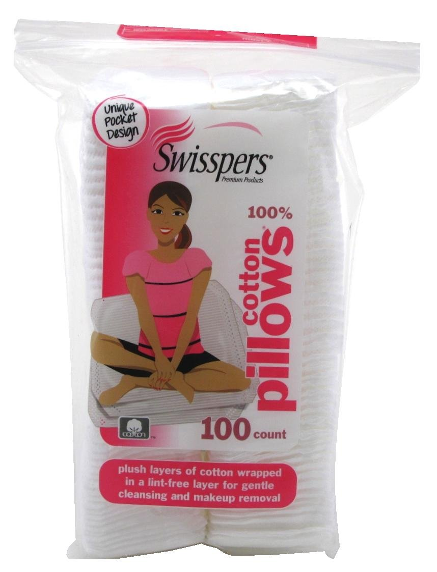 Swisspers Cotton Pillows Plush 100 Count Rectangular (6 Pack)