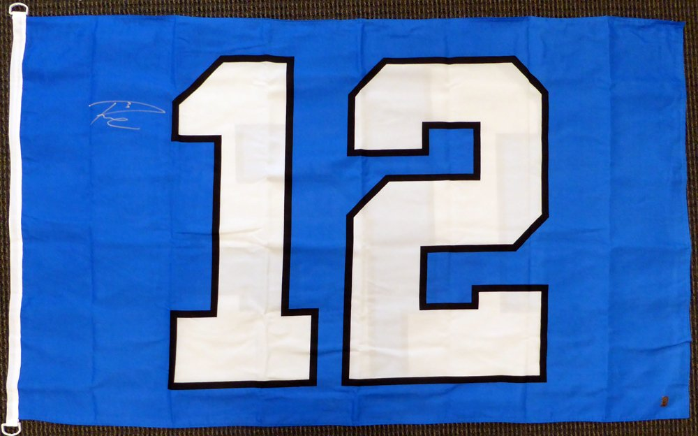 RUSSELL WILSON AUTOGRAPHED SEATTLE SEAHAWKS 12TH MAN 3X5 12 FLAG RW HOLO STOCK #130717