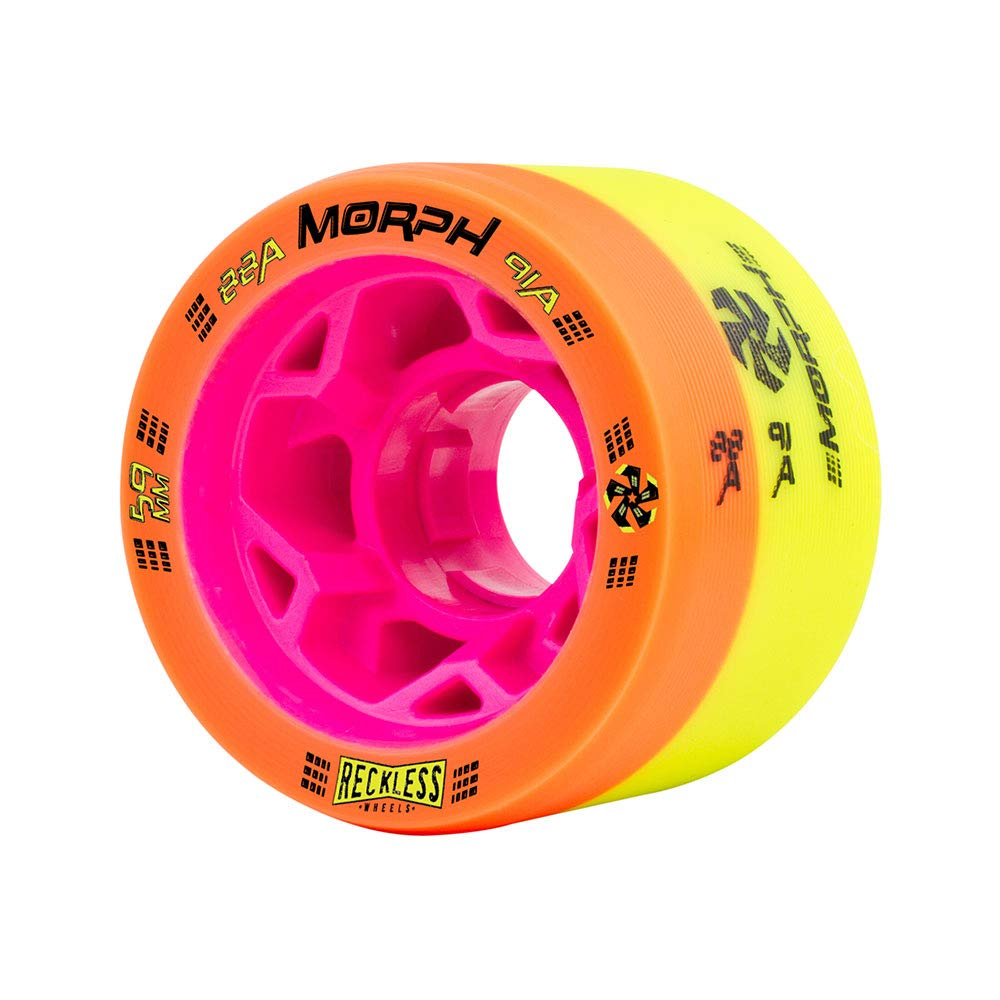 Reckless Radar Wheels - Morph - 4 Pack of 38mm x 59mm Dual-Hardness Roller Skate Wheels   88A/91A   Orange/Lime by Reckless