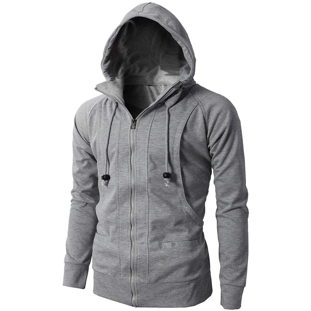 Pervobs Fashion Mens Autumn Winter Sport Zipper Hoodie Pullover Coat Jacket Blouse