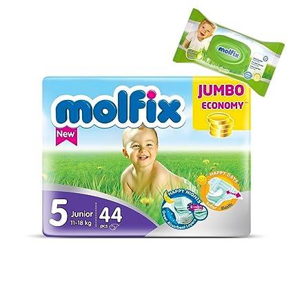 "Pañales tamaño 5 ""Maxi"" Molfix bebé pañales Jumbo Pack 44 pañales + 40"