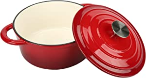 COOKWIN Enameled Cast Iron Dutch Oven with Self Basting Lid, Round Ceramic Enamel Coated Casserole Dish Cookware Pot Red, 2.9 QT