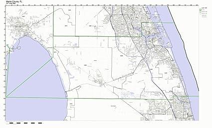Amazon Com Martin County Florida Fl Zip Code Map Not Laminated