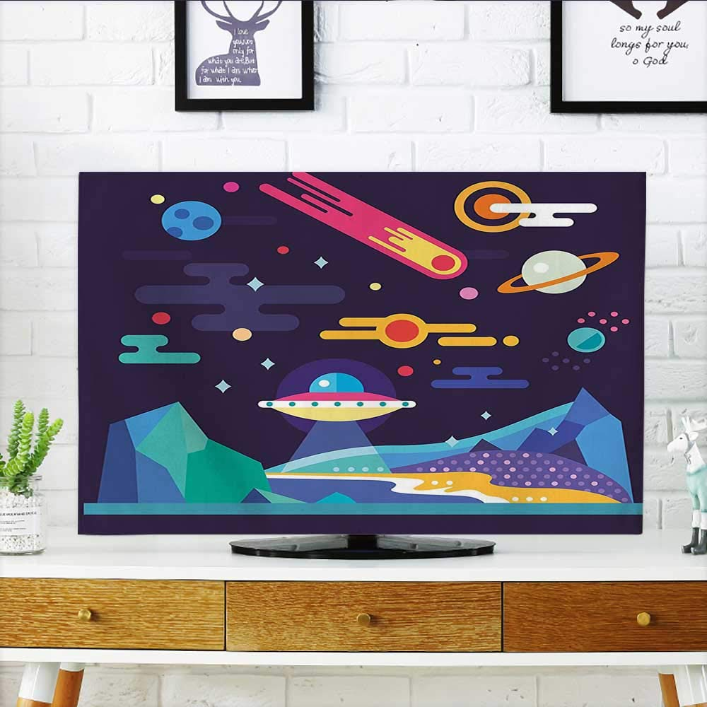 Leighhome Dust Resistant Television Protector Cosmos Universe Themed Solar System Stardust Comet UFO Planetary tv dust Cover W36 x H60 INCH/TV 65''
