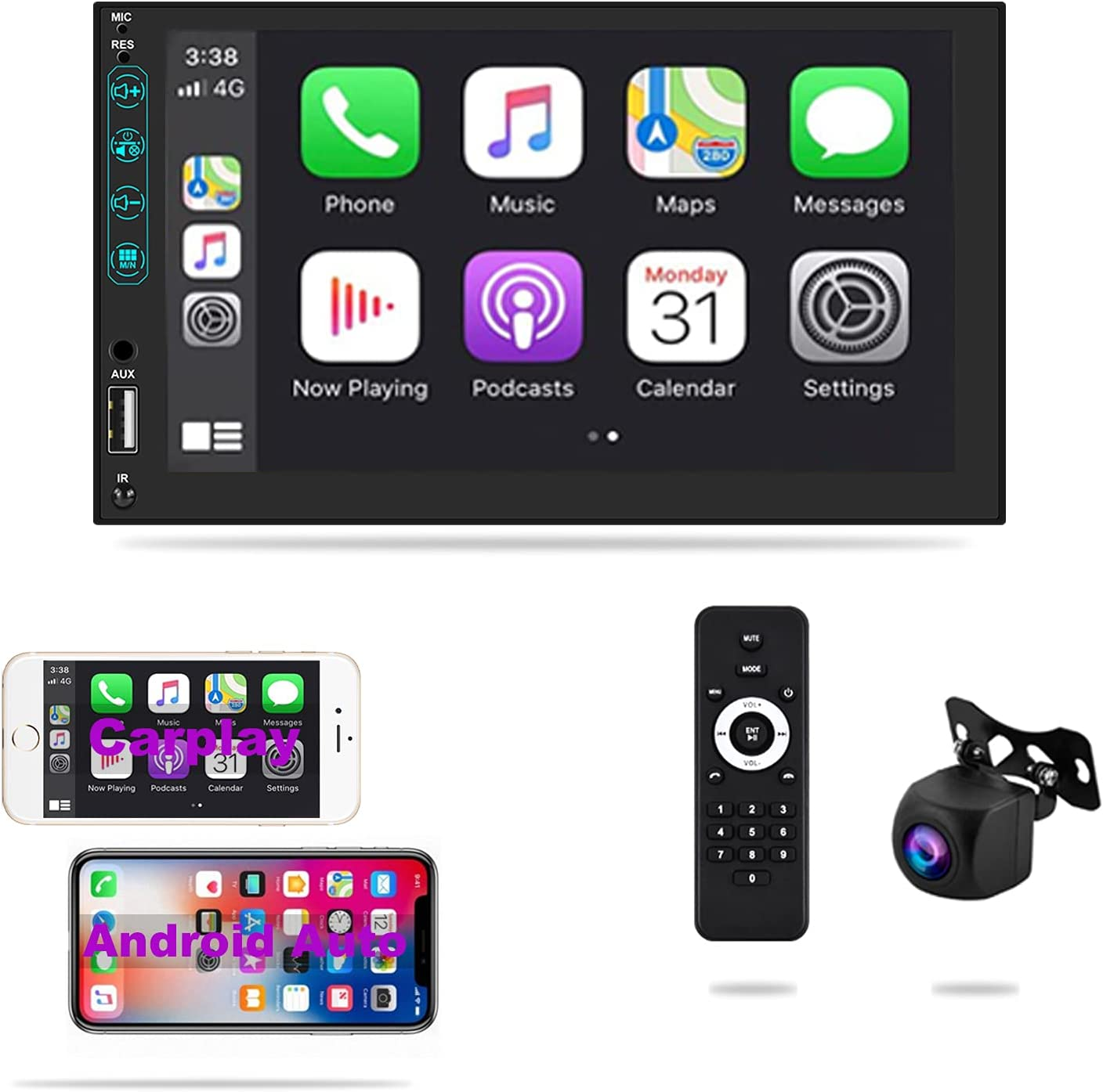 Henstar 7 Inch Double Din Car Stereo Compatible with Apple CarPlay and Android Auto, Touchscreen Car Radio Receiver with Bluetooth,FM/AM AUX TF USB Phone Mirror-Link,External Mic,Remote Control