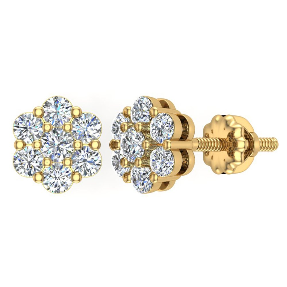 0.62 ct tw Cluster Diamond Flower Stud Earrings 14K Yellow Gold by Glitz Design