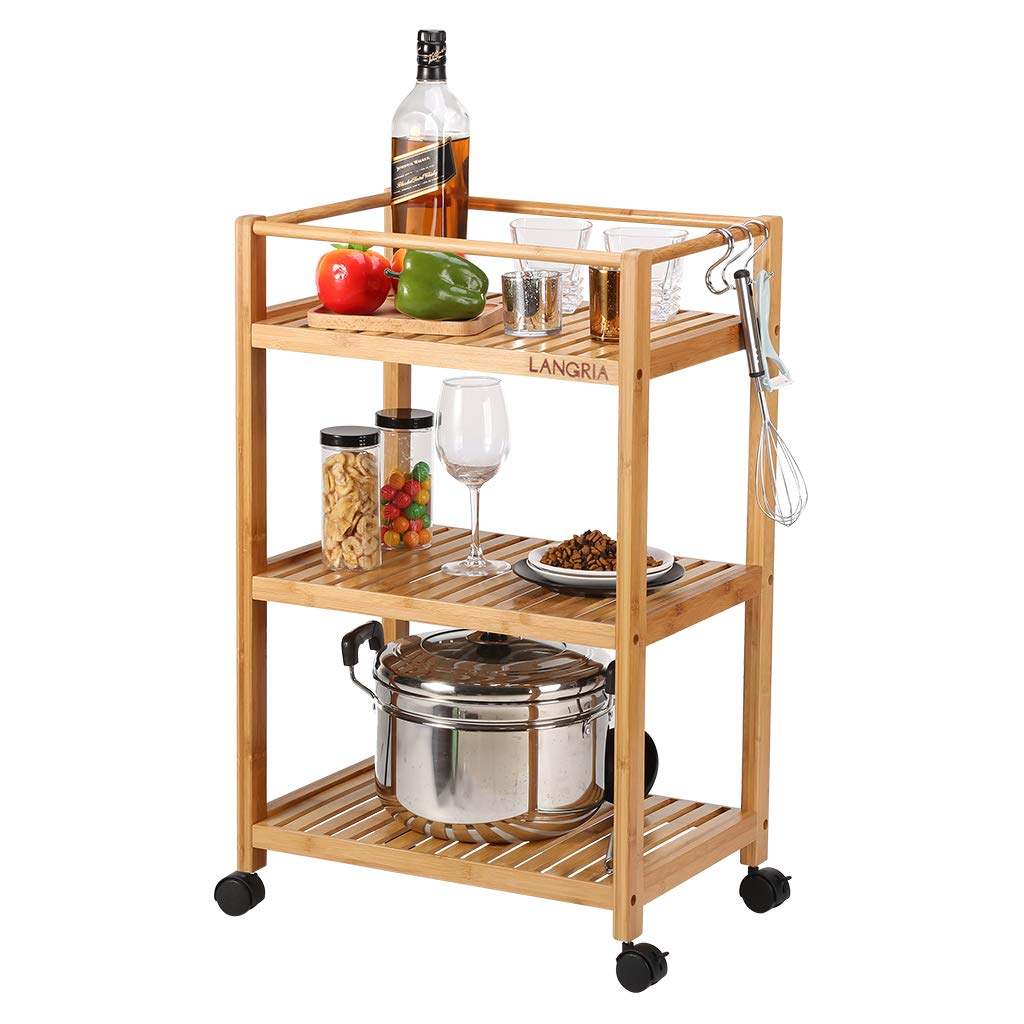 LANGRIA Bamboo 3 Tier Rolling Utility Service Cart Storage Shelf with Removable Hooks and Lockable Wheels for Home Organization Kitchen Bathroom and Office Load 11 lbs. Per Shelf 18.5 x13 x29.5