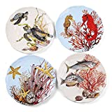 FORLONG FL8004 8'' Turtle Starfish Fish Seahorse Coral Plate Porcelain Dinnerware Dinner Plate Set of 4