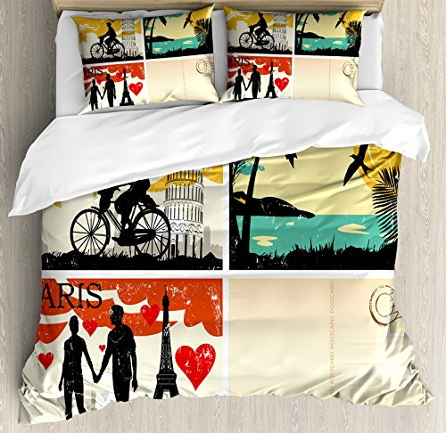 Retro Duvet Cover Set King Size by Ambesonne, Postcards from Italy Hawaii Paris Exotic Places in the World Nostalgic Times Print, Decorative 3 Piece Bedding Set with 2 Pillow Shams, Multicolor