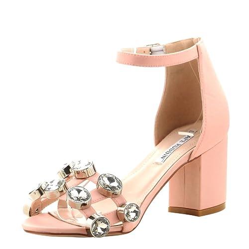 ff33ff33400 CAPE ROBBIN Womens Open Toe Oversize Rhinestone Crystal Ankle Strap Med Low  Heel Sandals 6 Blush