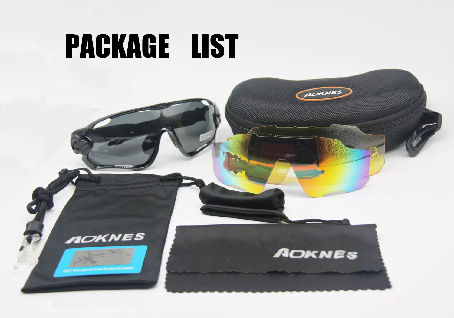 AOKNES Polarized Sports Cycling Glasses Goggles for Men Women with 3 Interchangeable Lenses